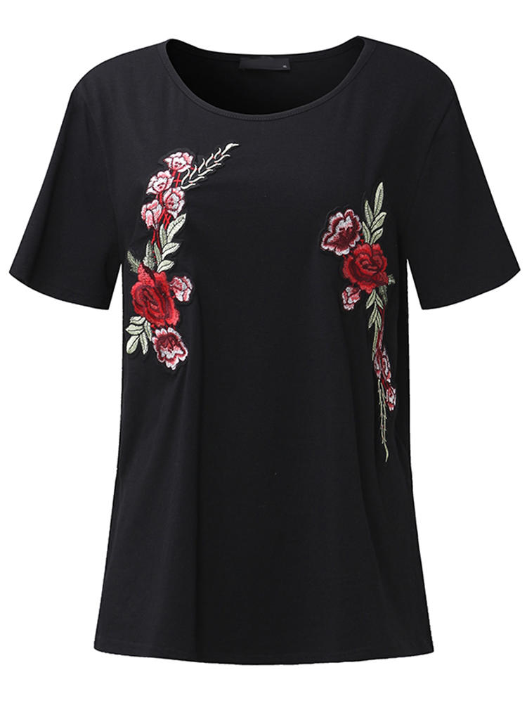 Casual Women Floral Embroidered Short Sleeve Crew Neck T-shirts