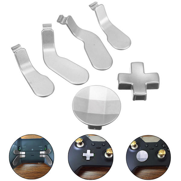 6Pcs Silver Metal Buttons Mod Replacement Kit for Xbox one Elite Controller