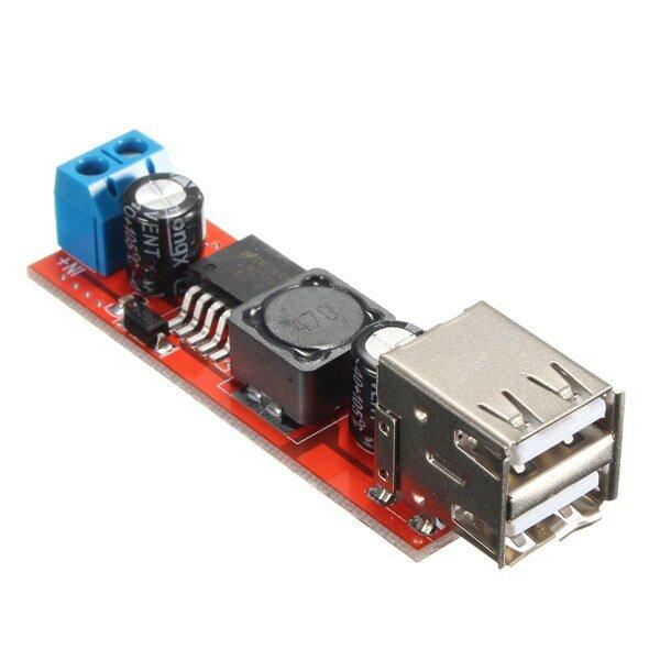 Dual USB 9V / 12V / 24V / 36V naar 5V Omvormer DC-DC 3A Step Down Power Module