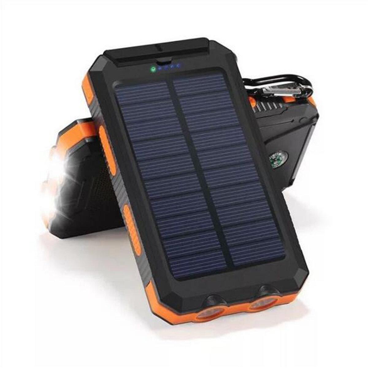 Bakeey Kit di cassa per banca di alimentazione Dual USB DIY solare da 20000mAh con bussola luce a led