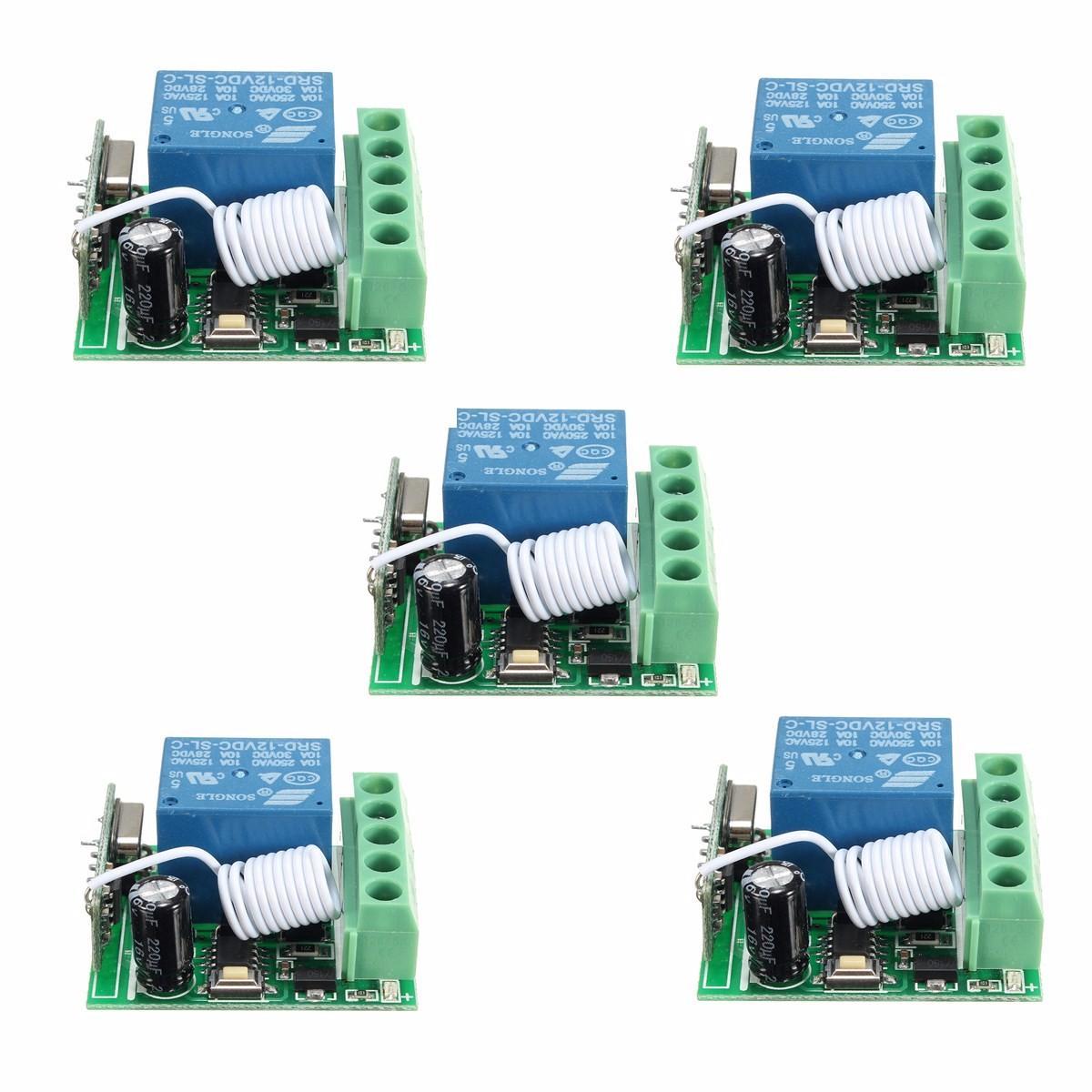 5Pcs DC12V 10A 1CH 433MHz Wireless Relay RF Remote Control Switch Receiver