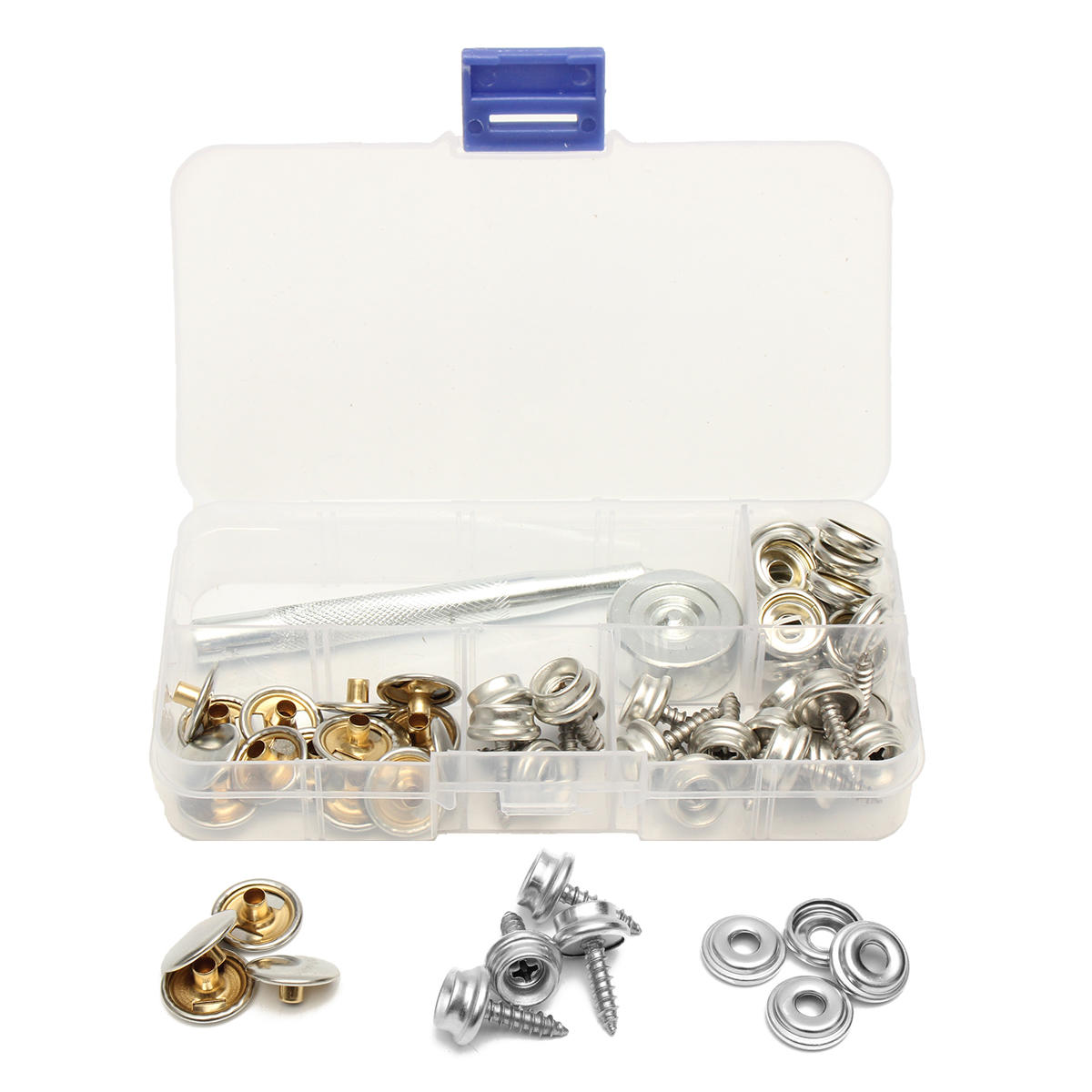 62Pcs Stainless Steel Press Studs Screw Bases Snap Fasteners Kit for Leather