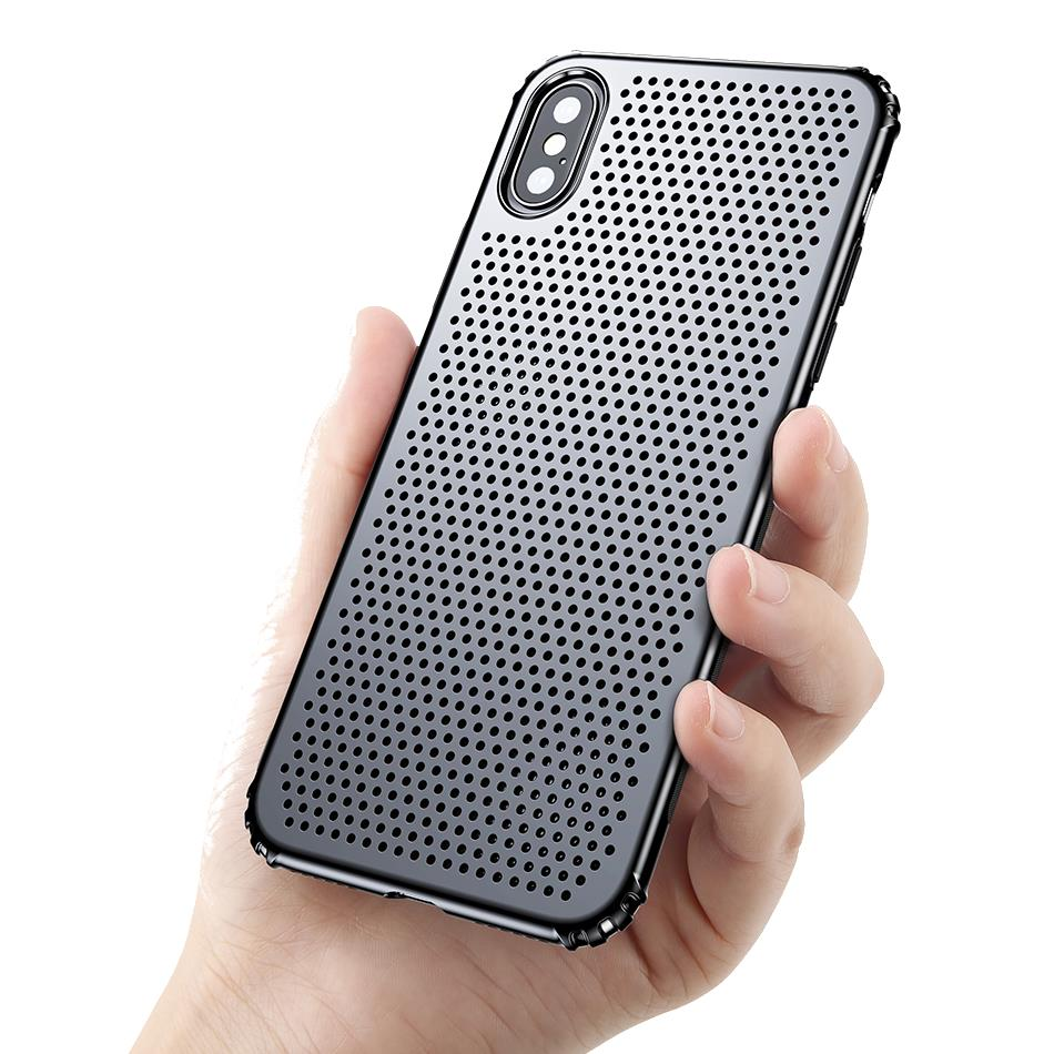 Baseus Airbag Heat Dissipation Soft TPU Hard PC Veske til iPhone X