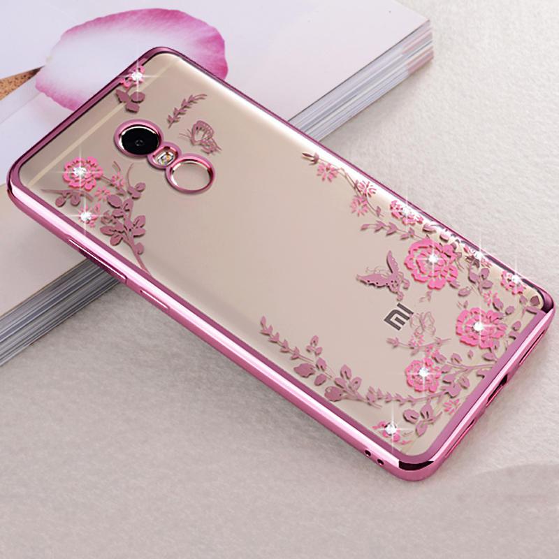 uk availability f3009 c7d10 Beautiful Flowers Pattern Slim Soft TPU Plating Bumper Back Case For Xiaomi  Redmi Note 4