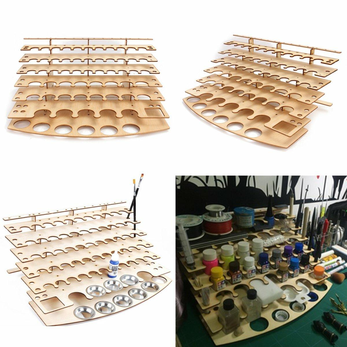 60 Pots Wooden Acrylic Color Paints Bottle Paint Shelf Storage Rack Holder Desk Organizer