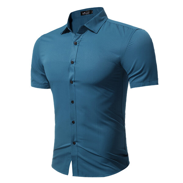 Plus Size Fashion Casual Solid Color Simple Style Short आस्तीन Dress Shirts for Men