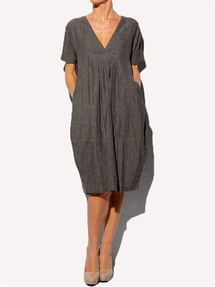 Women Solid Color Pleated V-Neck Dress with Pockets