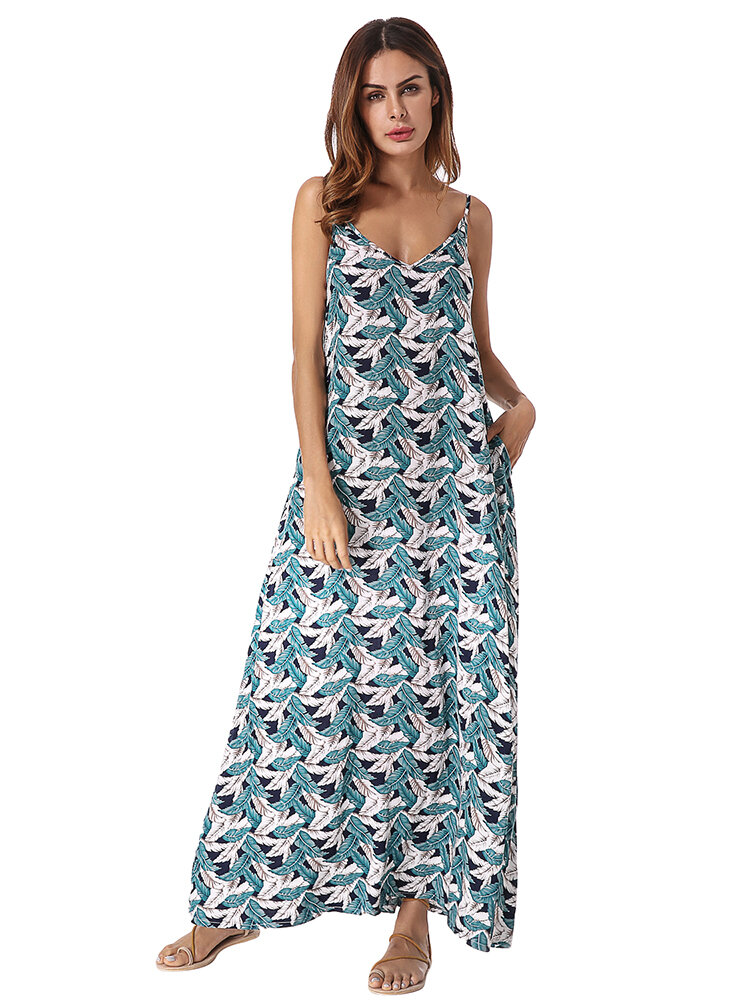 Casual Women Feather Printed V-Neck Spaghetti Strap Long Dress