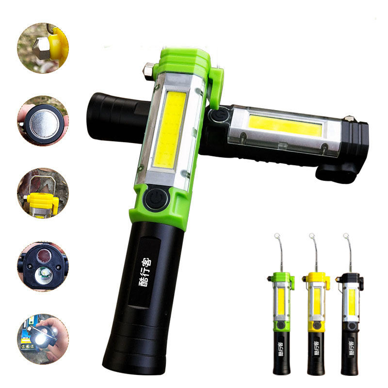 KXK-05 30W COB+LED 5Modes LED Work Light USB Rechargeable Outdoor Camping Emergency Flashlight LED Torch With Safety Ham