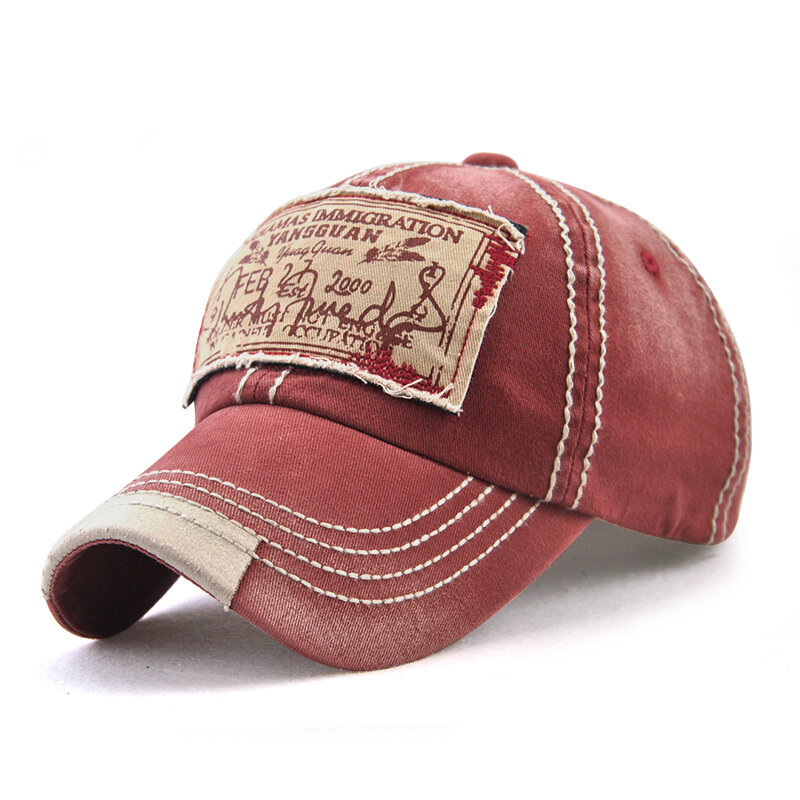Men Women Washed Cotton Baseball Cap Casual Sport Patch Printing Snapback Visor Hat Adjustable