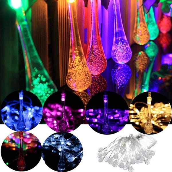 30 LED Solar Powered Raindrop Fairy String Light Outdoor Xmas Wedding Garden Party Decor