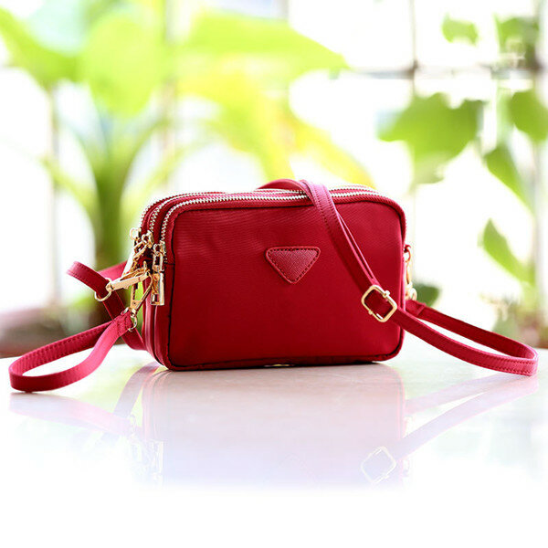 Women Water Resistant Multi-slot Clutch Bags Nylon Solid Mini Crossbody Bag