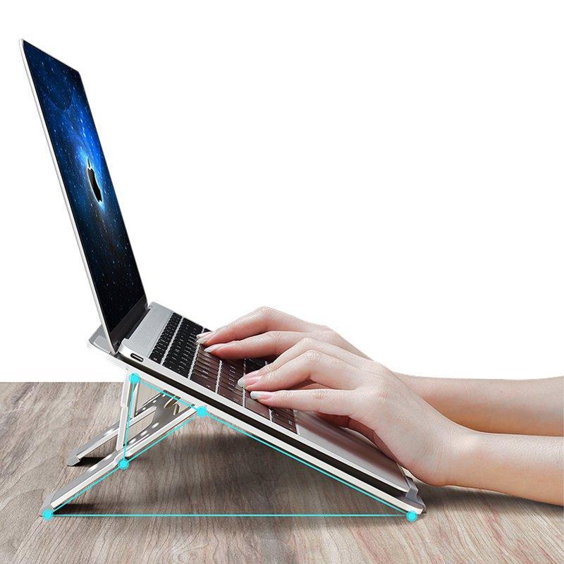 Universal Aluminium Alloy Høyde Justerbar Sammenleggbar Kjøle Stativ Desktop Holder For Mac Tablet Laptop