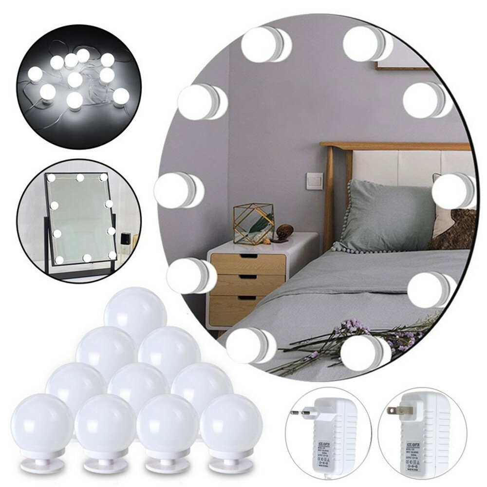 10PCS Hollywood Style Pure White LED Vanity Mirror Light Bulb Kit With Dimmer Controller for Makeup Dressing