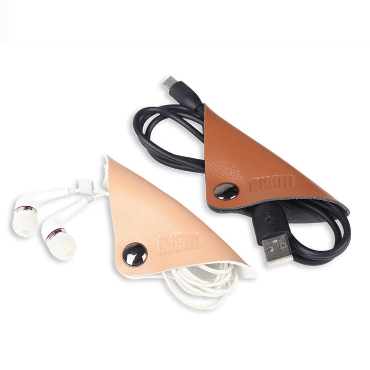 BUBM LXDC 2Pcs Magnetic Leather Cable Strap Cable Tie Wraps Cord Management Holder Keeper Cable Clip