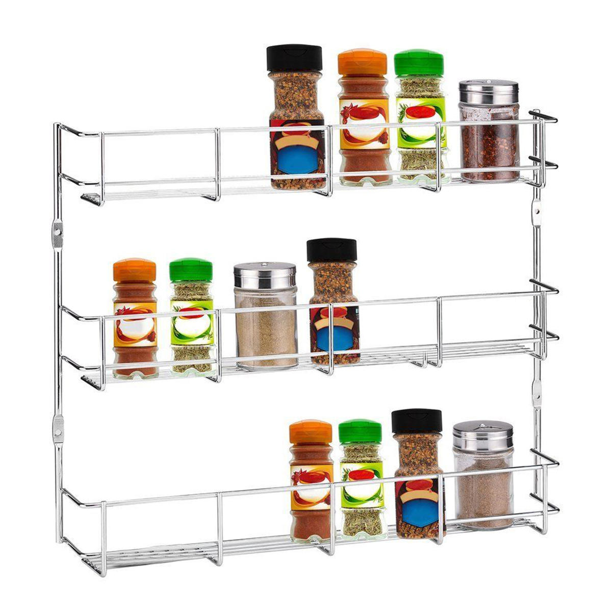 3 Tiers Kitchen Spice Rack Cabinet Wall Mount Storage Shelf Pantry Holder  Kitchen Storage Rack