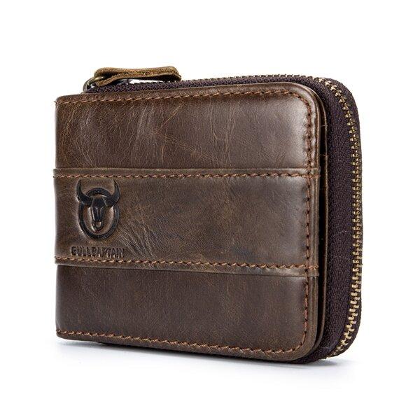 55234e0f3924 Bullcaptain RFID Antimagnetic Vintage Genuine Leather 11 Card Slots Coin  Bag Wallet For Men