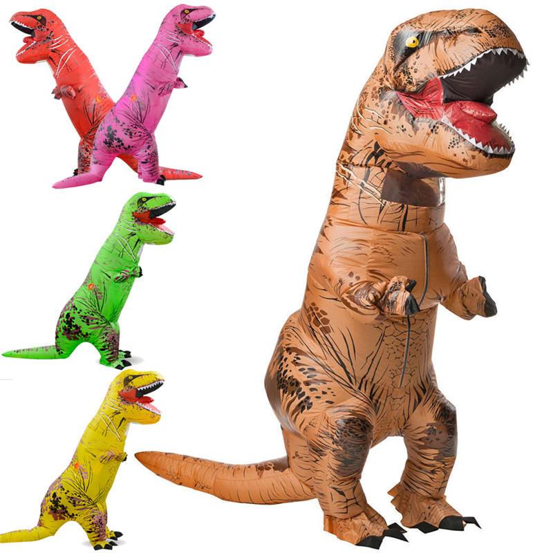 Mainan tiup Dinosaurus Halloween Kostum Dewasa Jurassic World Park Blowup Fancy Dress Suit