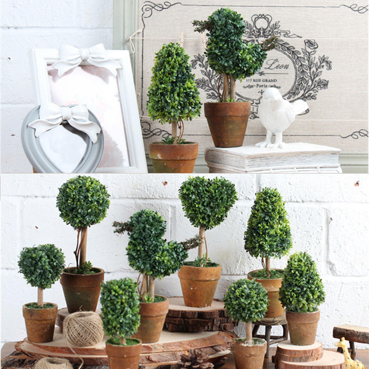 Artificial Trees Home Decor: Artificial Potted Plant Plastic Garden Grass Ball Topiary
