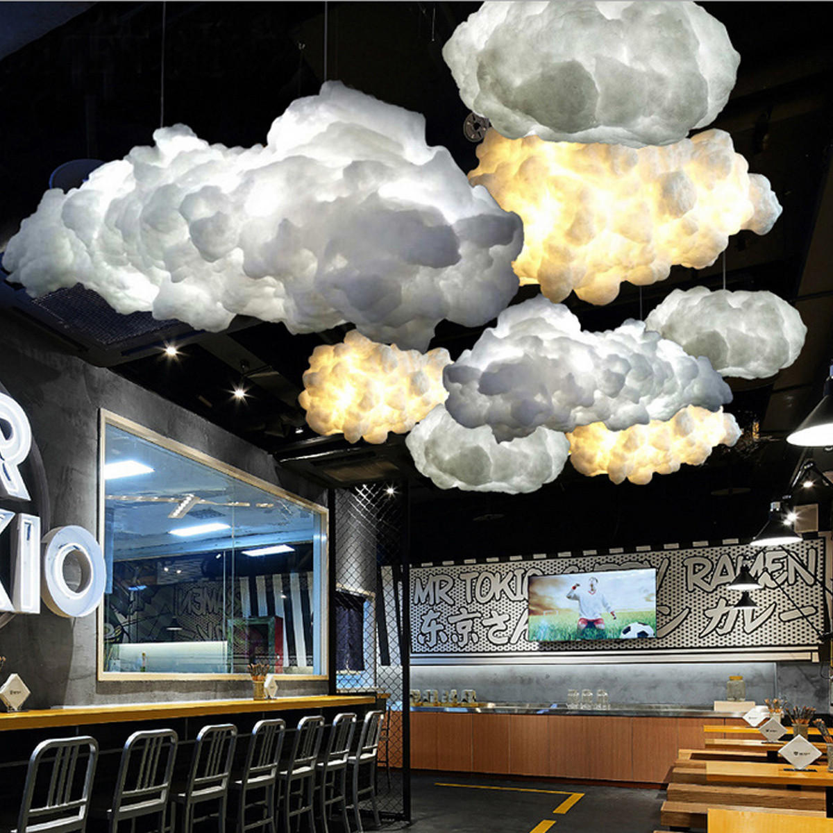 White Floating Cloud Pendant Light Restaurant Bar Lamp Fixture For Indoor Lighting Decoration