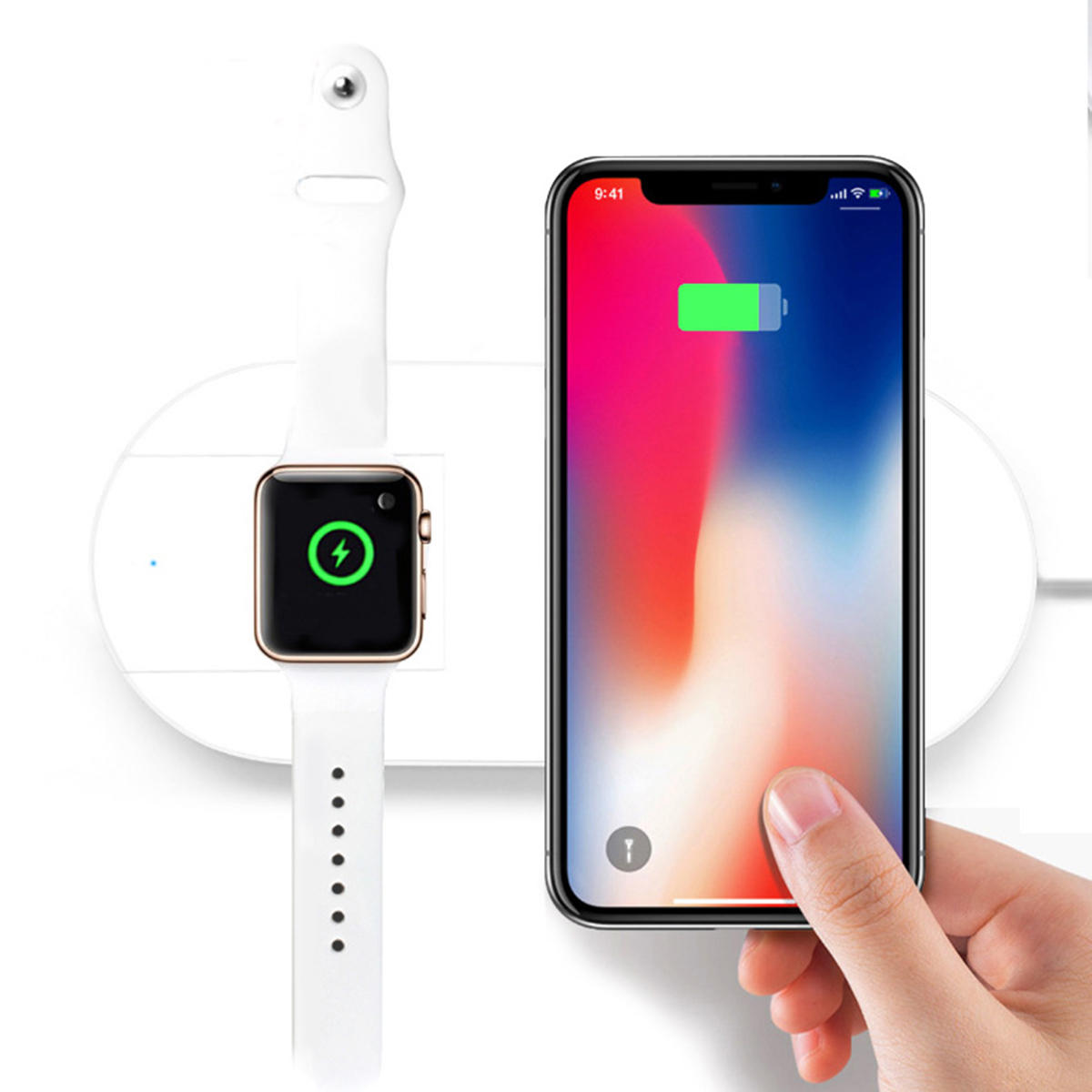 new concept 8d43c 17a42 10W 2in1 Qi Wireless Charger Pad Charging Station For Apple Watch iPhone X  8/8Plus Samsung S9 S8