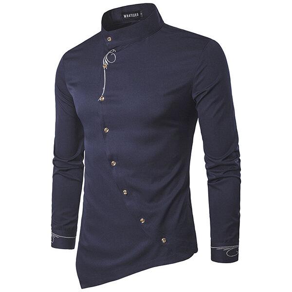 पुरुषों की कढ़ाई अनियमित हेम लंबी आस्तीन शर्ट