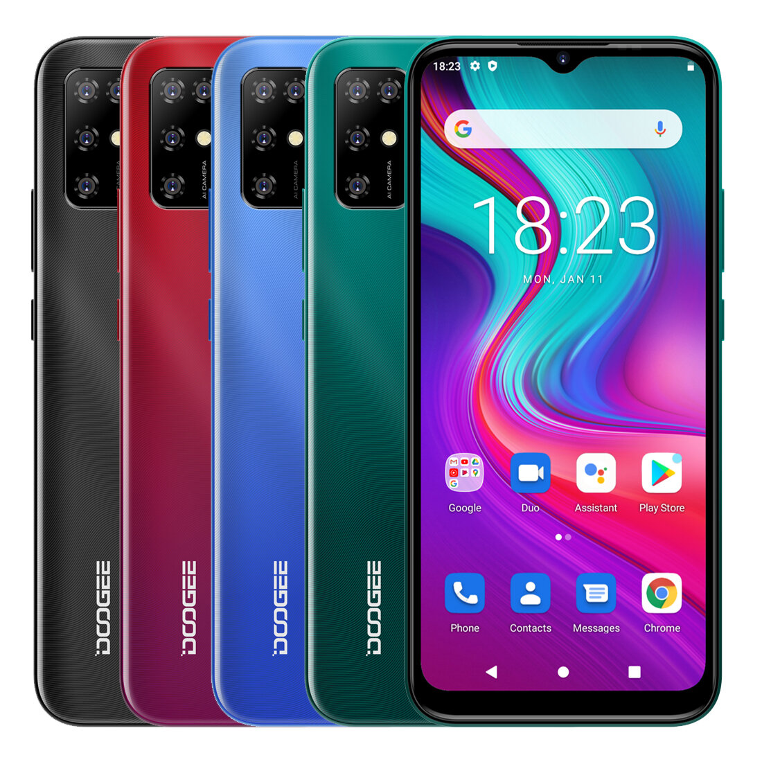 DOOGEE X96 Pro Global Version 6.52 inch HD+ Waterdrop Screen 4GB 64GB 5400mAh Android 11.0 SC9863A 13MP AI Quad Camera Octa Core 4G Smartphone