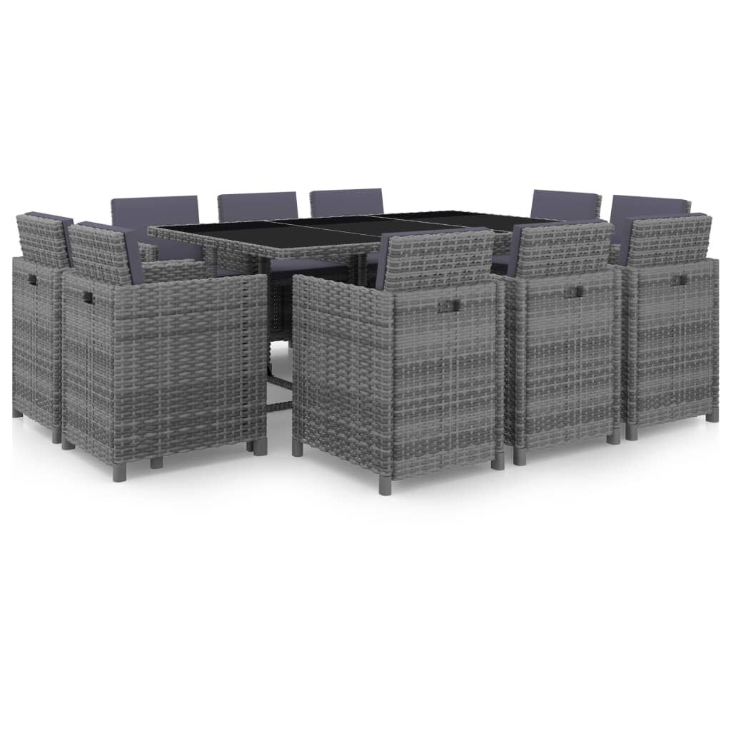11 Piece Outdoor Dining Set with Cushions Poly Rattan Gray
