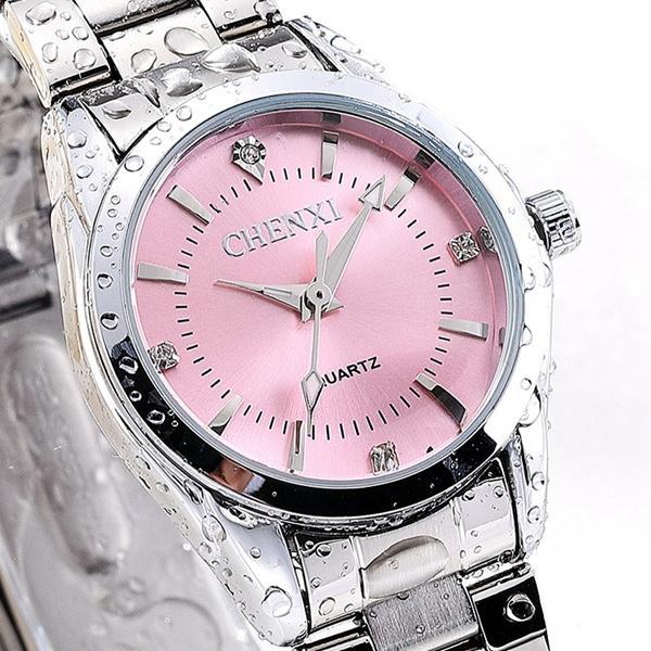 CHENXI 021B ריינסטון אופנתי שעונים נשים נירוסטה רצועת קוורץ שעונים