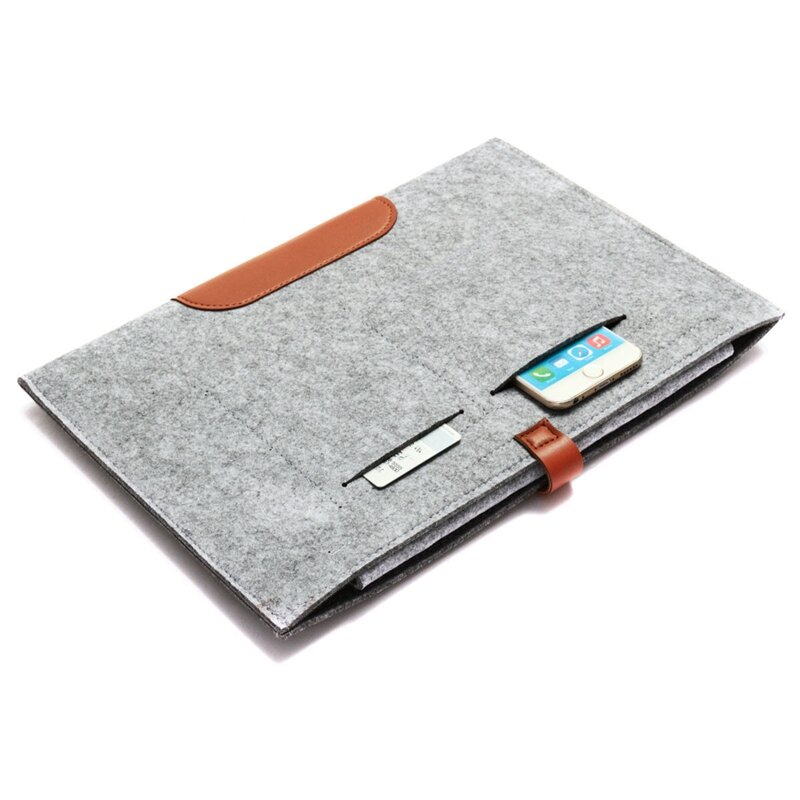 Durable Soft Felt Sleeve Case Cover with Pockets For iPad Pro 12.9 Inch