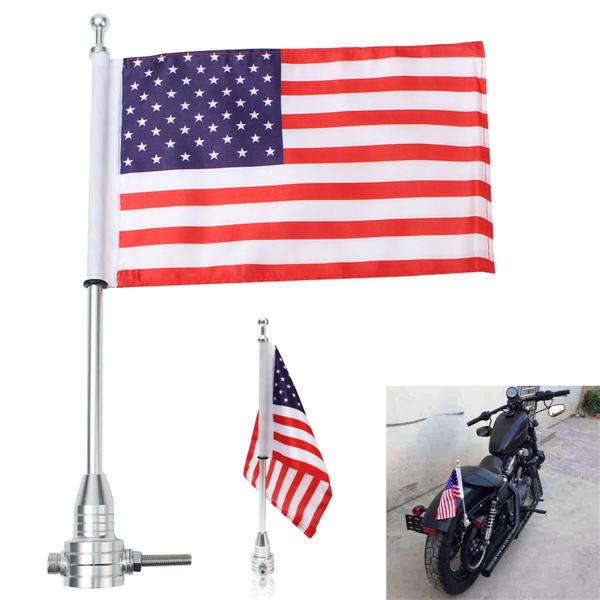 Universal Motorcycle American USA Flag pole Luggage Rack Mount For Harley