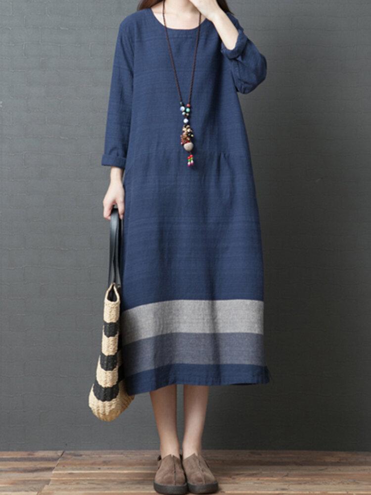 77026fe7 Vintage Women Loose Cotton Linen Striped Patchwork Long Sleeve Dress - Navy  8 COD