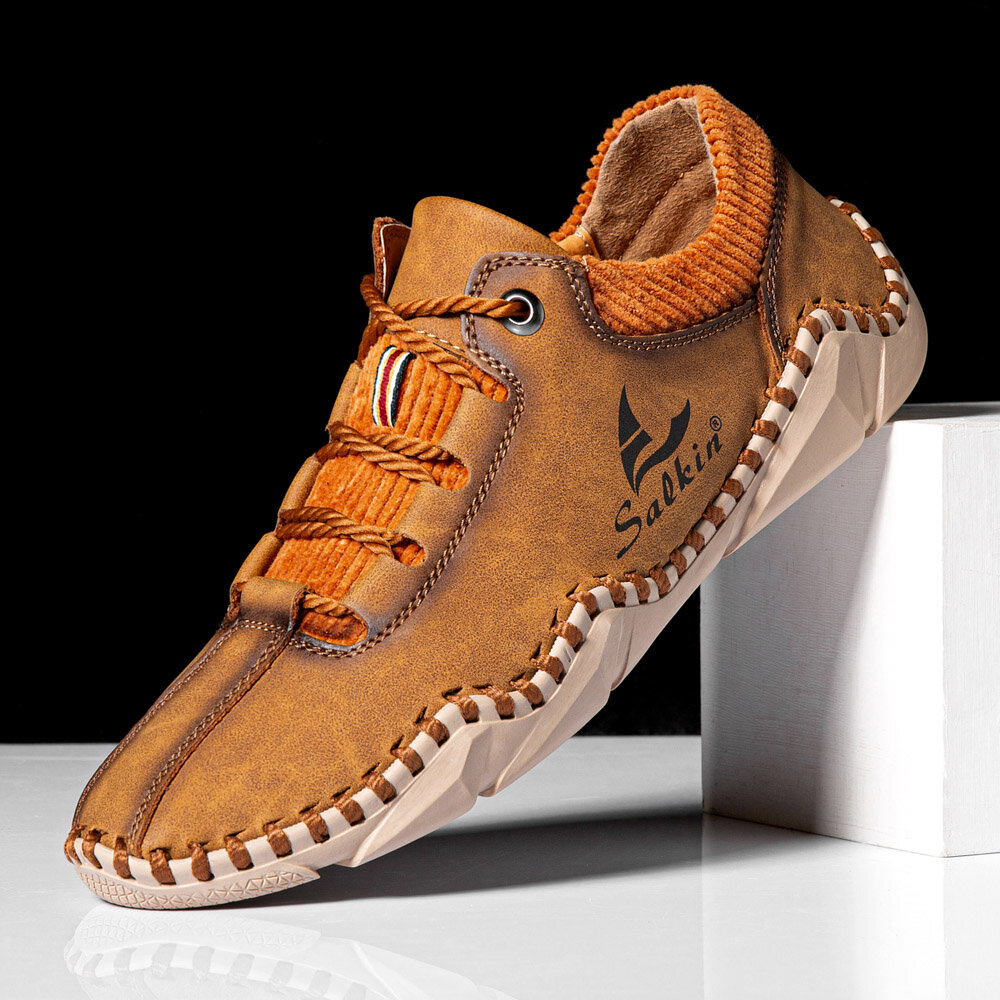 Men Microfiber Leather Splicing Breathable Hand Stitching Soft Crocodile Grain Sole Casual Shoes