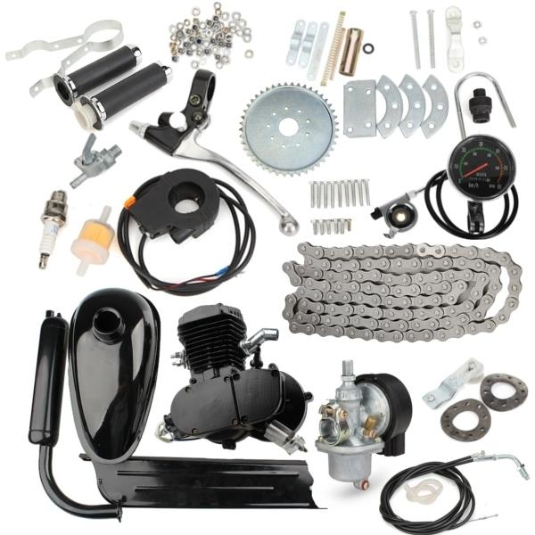 Upgraded 80cc 2 Stroke Motorized Bicycle Gas Engine Motor Kit with Speedometer Black