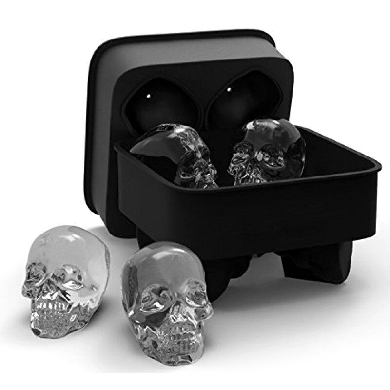 KCASA Bandeja del Hielo de Cráneo 3D de Silicona Flexible