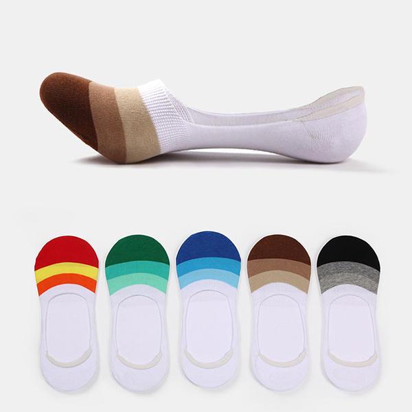 पुरुषों एंकल अदृश्य नाव मोजे सिलिकॉन विरोधी पर्ची वर्तनी रंग पट्टी आरामदायक मोजे