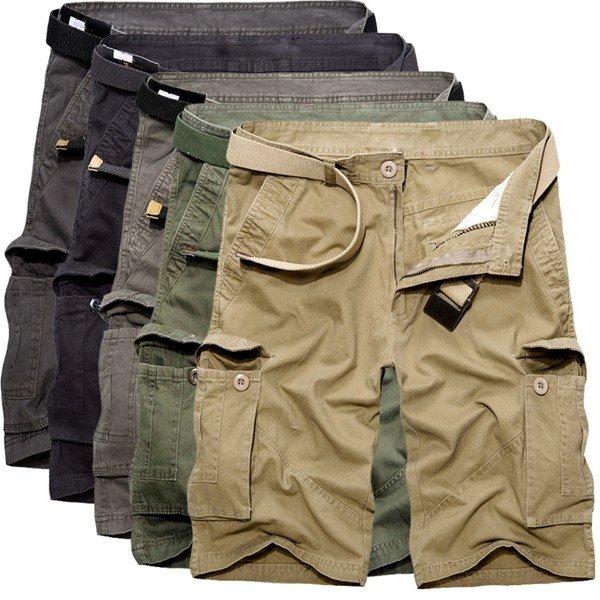 पुरुष आरामदायक कपास ठोस बिग जेब प्लस आकार लूज कार्गो सैन्य शॉर्ट्स