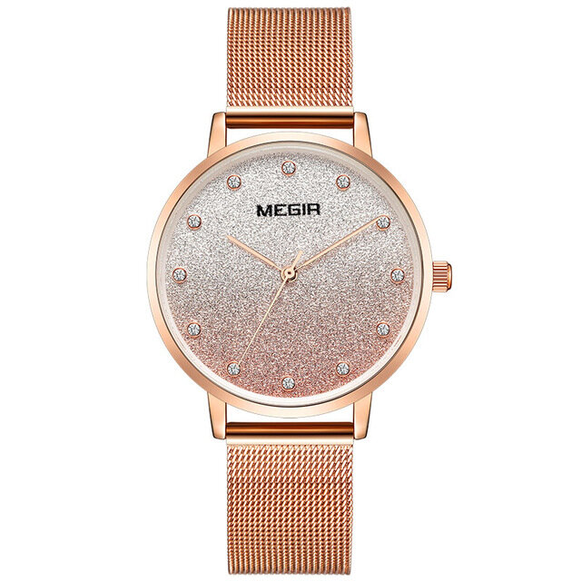 MEGIR 4215 Ultra Thin Simple Design Mesh Steel Strap Women Wristwatch Fashionable Quartz Watch