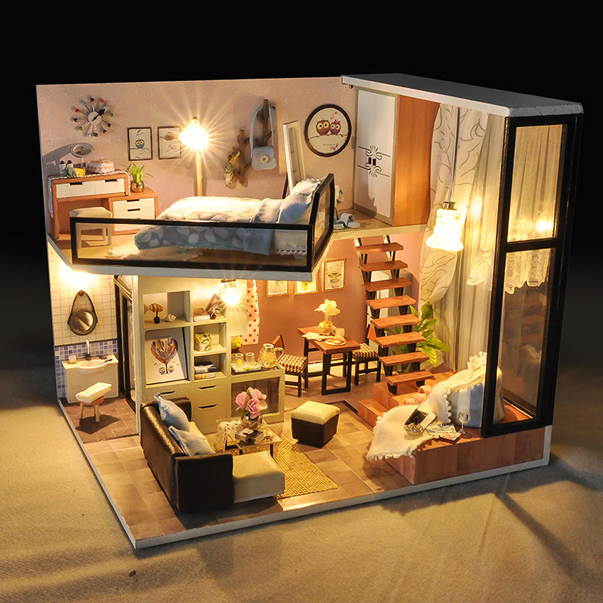 Kids Toy House With Furniture LED Light DIY Miniature Doll House Kit Dolls Gift