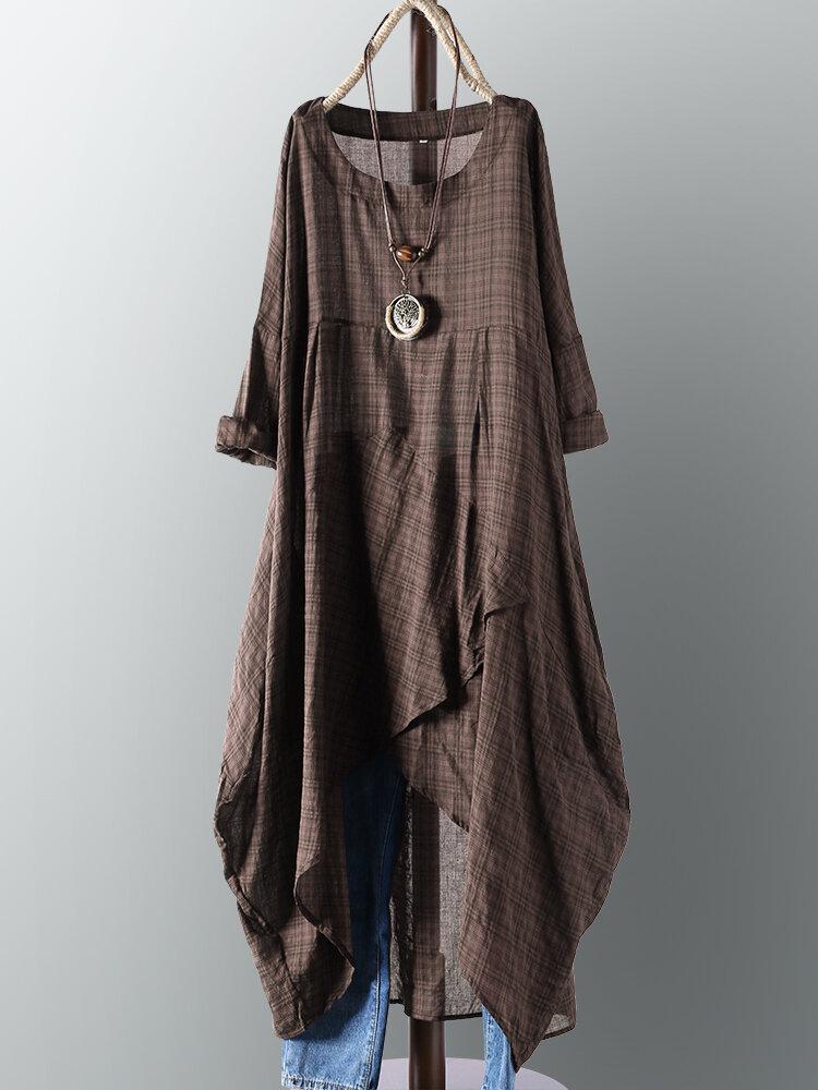 Vintage Women Cotton Pocket Plaid Irregular Hem Maxi Dress