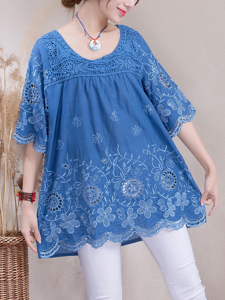 Women Embroidery Crochet Pure Color Half Sleeve Blouse