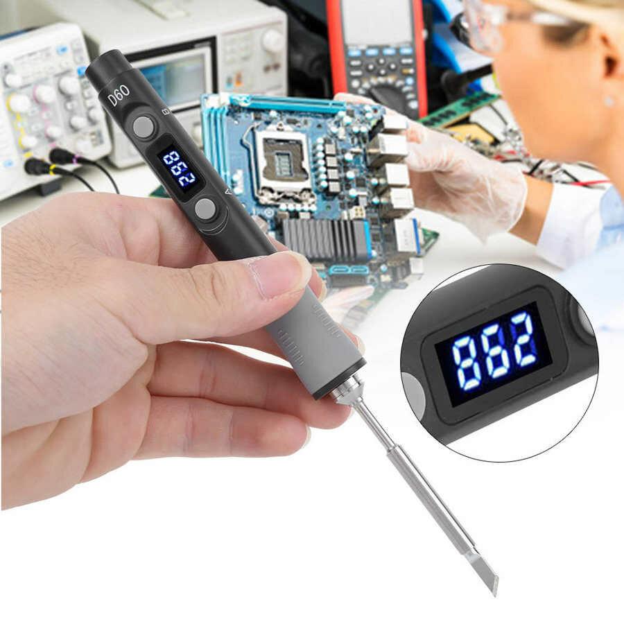SQ-D60 60W Digital Solda Estação de Ferro DC12-24V Type-C Interface 100 ℃ -400 ℃ Temperatura Ajustável