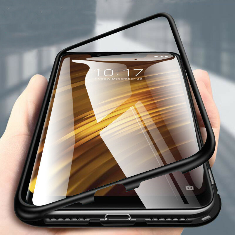 Bakeey 360° Magnetic Adsorption Metal Tempered Glass Flip Protective Case for Xiaomi Pocophone F1