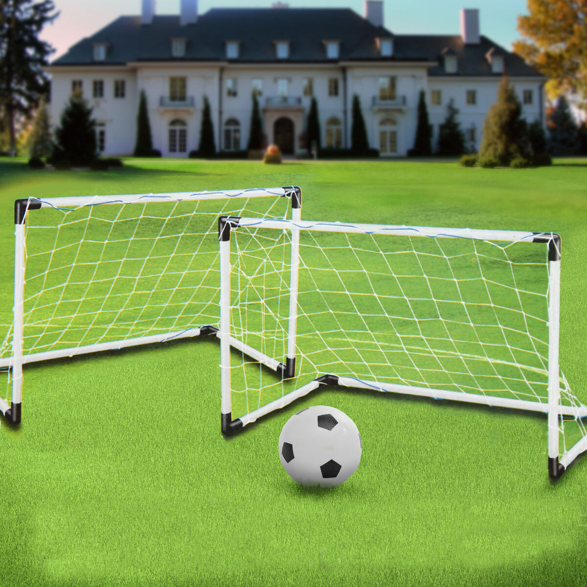 c23001f47a2049 2 Mini Set Football Soccer Goal Post Net + Ball + Pump Kids Outdoor Sport  Training COD