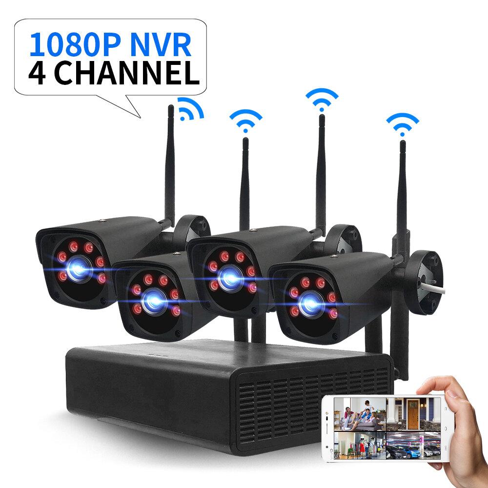 GUUDGO 4CH 2.0MP 1080P Wireless Black Surveillance Camera System Kits outdoor/Indoor Weatherproof...