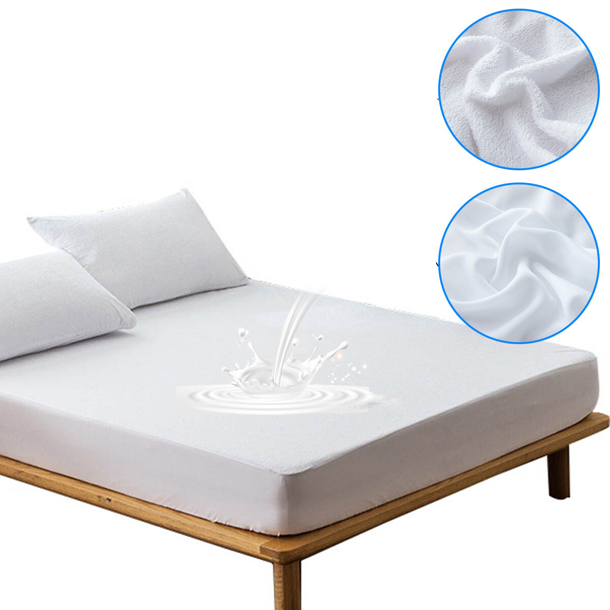 Waterproof Bed Fitted Sheet Cotton Terry Fabric Waterproof Breathable Bed Sheet with Elastic White Terry Mattress Cover