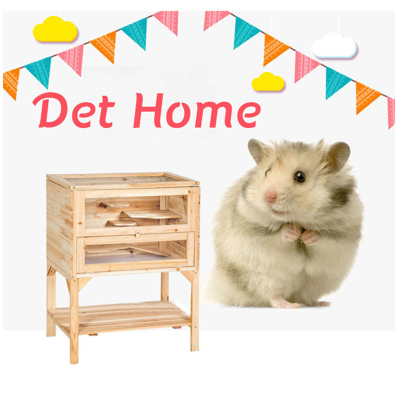 Pleasing Wooden 3 Tiers Hamster Cage Wood House Pet Mouse Small Animals Rats Exercise Interior Design Ideas Oteneahmetsinanyavuzinfo