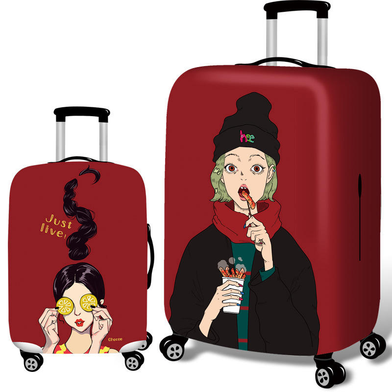 Honana Cool Girls Elastic Luggage Cover Trolley Case Cover Durable Suitcase Protector for 18-32 Inch Case Warm Travel Accessories