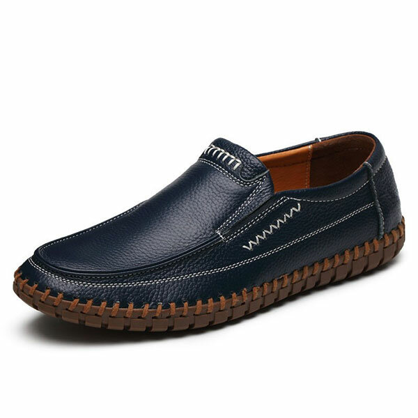 Banggood Shoes Men Genuine Leather Hand Stitching Soft Sole Slip On Oxfords