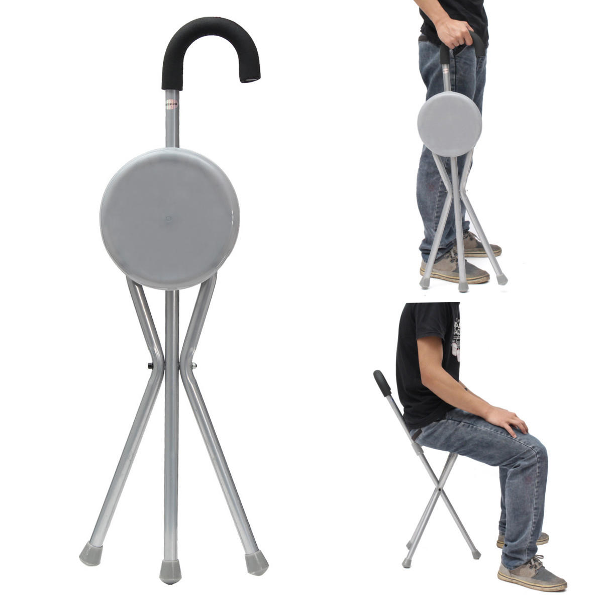 Wondrous Outdoor Travel Folding Stool Chair Portable Tripod Cane Walking Stick Seat Camping Hiking Caraccident5 Cool Chair Designs And Ideas Caraccident5Info
